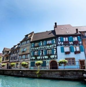 Blue sky over old town of Colmar in France
