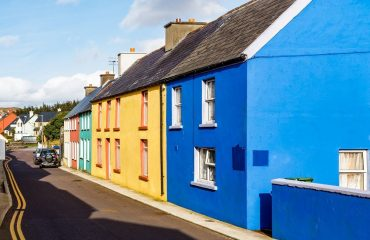 Colored houses in Eyeries, West Cork, Ireland