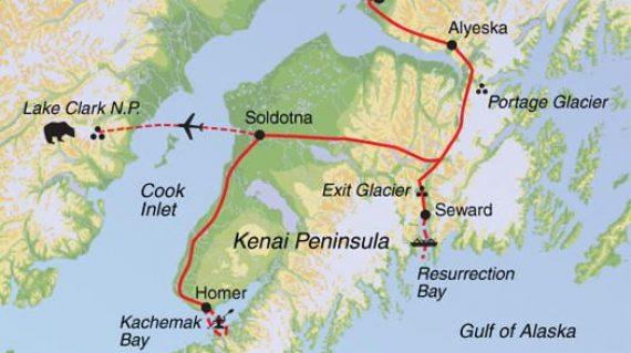 Resurrection Bay Alaska Map.Alaska Kenai In Depth European Tours From Breakaway Adventures