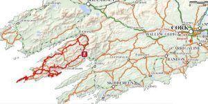 Map of Beara Peninsula in Ireland